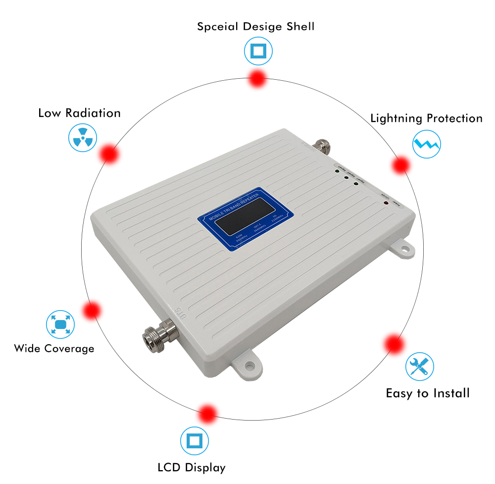 2G 3G 4G Triple Band Signal Booster GSM 900+DCS/LTE 1800+FDD LTE 2600 Mobile Phone Signal Repeater Cell Phone Cellular Amplifier