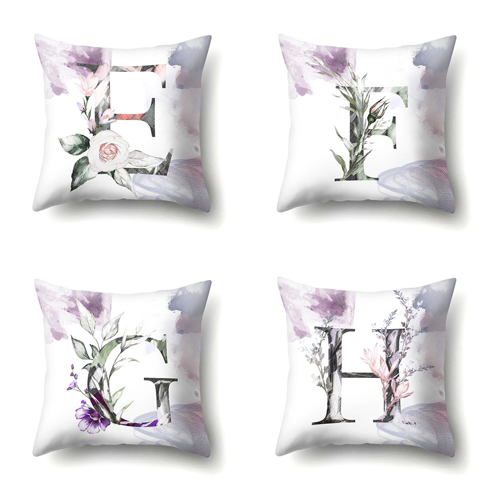b Nordic Violet Letters Cushion Cover Printed Flowers Throw Pillow Covers Decorative Purple Farmhouse Decor Plants Home Decoration