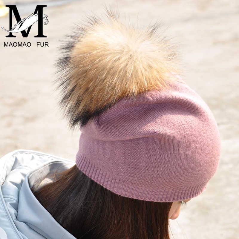 11b0610d41e Women Spring Wool Real Fur Pom Pom Hats Female Natural Raccoon Fur Beanie  Hat Winter Cashmere