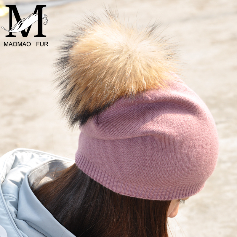 5dbef2a10bc Women Spring Wool Real Fur Pom Pom Hats Female Natural Raccoon Fur Beanie  Hat Winter Cashmere Knitted Hat With Real Fur Pompom