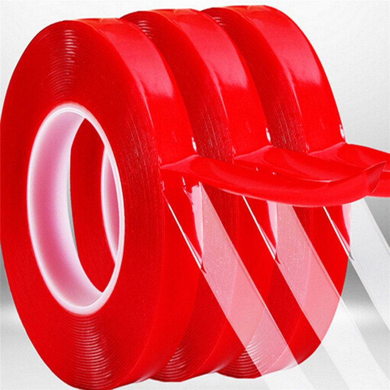 Hot selling 3M red Tape two side tape with 10mm/15mm/20mm/25mm width transparent double sided tape super fixHot selling 3M red Tape two side tape with 10mm/15mm/20mm/25mm width transparent double sided tape super fix