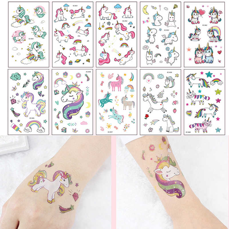 Leuke Eenhoorn Patroon kinderen Tijdelijke Tattoos Speelgoed Cartoon Dier Waterdichte Flash Tattoo Sticker Voor Kids Gift