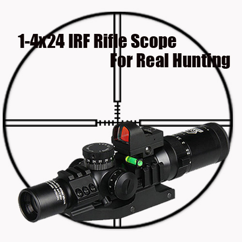 Tactical 1-4x24 IRF RIfle Scope With 1X mini red dot scope and Scope Level Bubble Scope Mount OS1-0292 22mm rail 1x 33mm red dot rifle scope 1 x cr2032