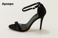 Apoepo Brand 2017 Women Shoes Summer Office Sandals Elegant High Heels Sandals Women Black Party Shoes
