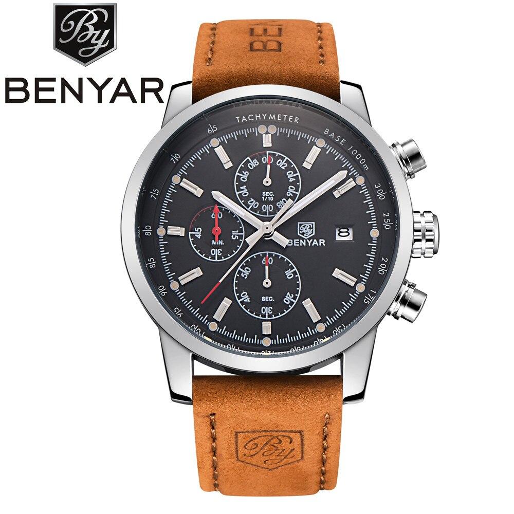 BENYAR Sport Männer Uhr Top Marke Luxus Männlichen Leder Wasserdichte Chronograph Quarz Militär Uhr Männer Uhr relogio masculino