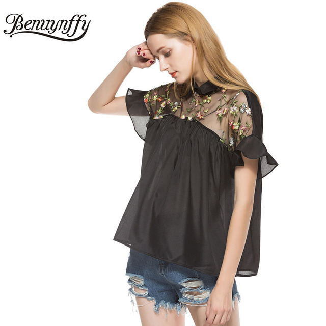 66a2f0f4d1 Benuynffy Floral Embroidery Mesh Tops 2018 Summer New Fashion Women Elegant  Vintage Shirt Top Bow Tie Ruffle Sleeve Blouse X518