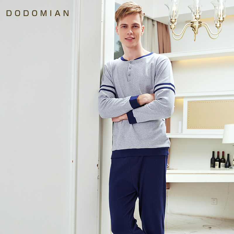 Autumn Mens   Pajamas   Sexy Lingerie Men Sleepwear 100% Cotton Pijama Hombre   Pajama     Sets   Men Home Clothing Night Shirt+ Pants