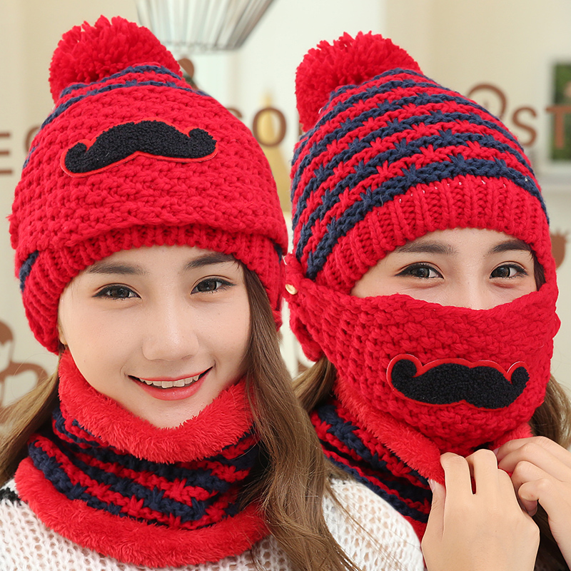 Beard style Neck warmer ski cap and scarf cold warm fur lining winter hat  for women men Knitted thick velvet Beanies hat Bonnet-in Skullies   Beanies  from ... ee4183668595