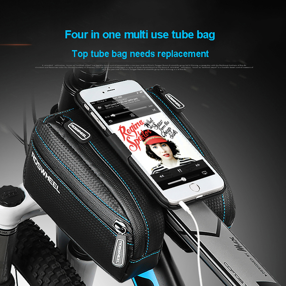 ROSWHEEL Universal Bicycle Bag Mobile Phone Touch Screen Bolder Carbon Fiber Bike Frame Bag bicycle <font><b>Accessories</b></font> Running Bag