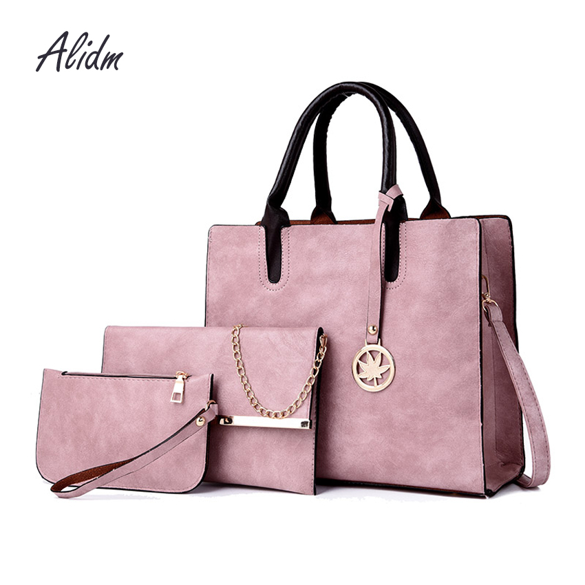 Luxury Handbags Women Bags Designer 3 Set/Pcs Women Leather Handbags And Purses Shoulder Bag Ladies Hand Bags bolsa feminina luxury brand handbags women bags new 2018 designer women s genuine leather handbags casual shoulder hand bags bolsa feminina d15