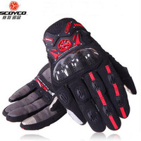 SCOYCO Summer Breathable Full Finger Motorcycle Gloves Drop Kinght Touch Screen Carbon Fiber Racing Locomotive Motorbike