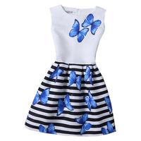 2017 Summer Girls Dress Butterfly Floral Print Princess Dresses For Baby Girls Designer Formal Party Dress