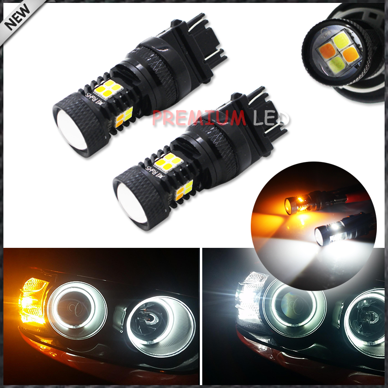 iJDM Extremely Bright 3030 Chipsets White/Yellow 3157 3155 T25 Switchback LED Bulbs with Projector For Turn Signal Lights ijdm amber yellow error free bau15s 7507 py21w 1156py xbd led bulbs for front turn signal lights bau15s led 12v