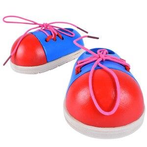 Image 4 - 1 adet rastgele çocuklar Montessori eğitim oyuncaklar çocuk ahşap oyuncaklar Toddler bağcık ayakkabı erken eğitim Montessori eğitimi destekleyicileri