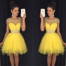 New Sexy Short Prom Dresses 2017 O-neck Sleeveless Side Front Knee Length Beads Prom Dress 2017