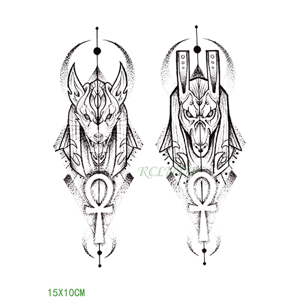 Waterproof Temporary Tattoo Sticker Protector Of Ancient Egypt Egyptian Totem Anubis Fake Tatto Flash Tatoo For Men Women Girl