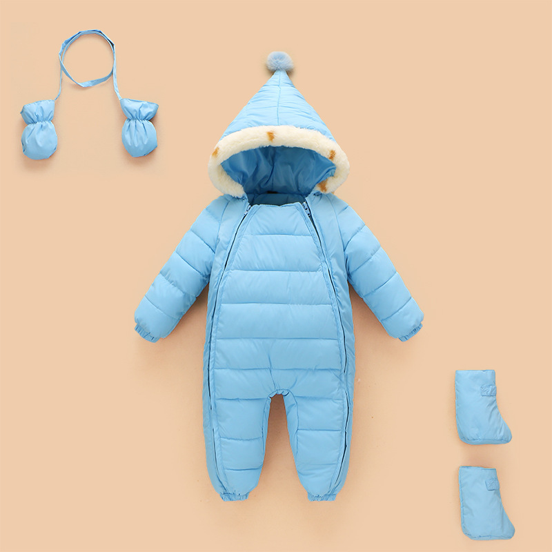 Warm Baby Romper Boys Snowsuit Duck Down Baby Winter Romper Hoodies Newborn Overalls Winter Clothes Kids Girls Children Jumpsuit