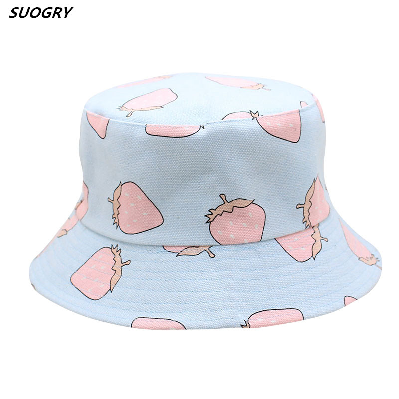 SUOGRY Bucket cap Man Women Unisex cotton Strawberry Hat Caps Hip Hop outdoor sports Summer ladies Beach Bucket Hats