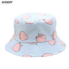 SUOGRY Bucket cap Man Women Unisex cotton Strawberry Hat Caps Hip Hop outdoor sports Summer ladies Beach Hats