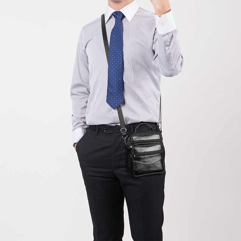 Skórzana męska torba Crossbody na co dzień biznesowa skórzana męska torba w stylu Vintage męska duża torba na suwak torebki na ramię