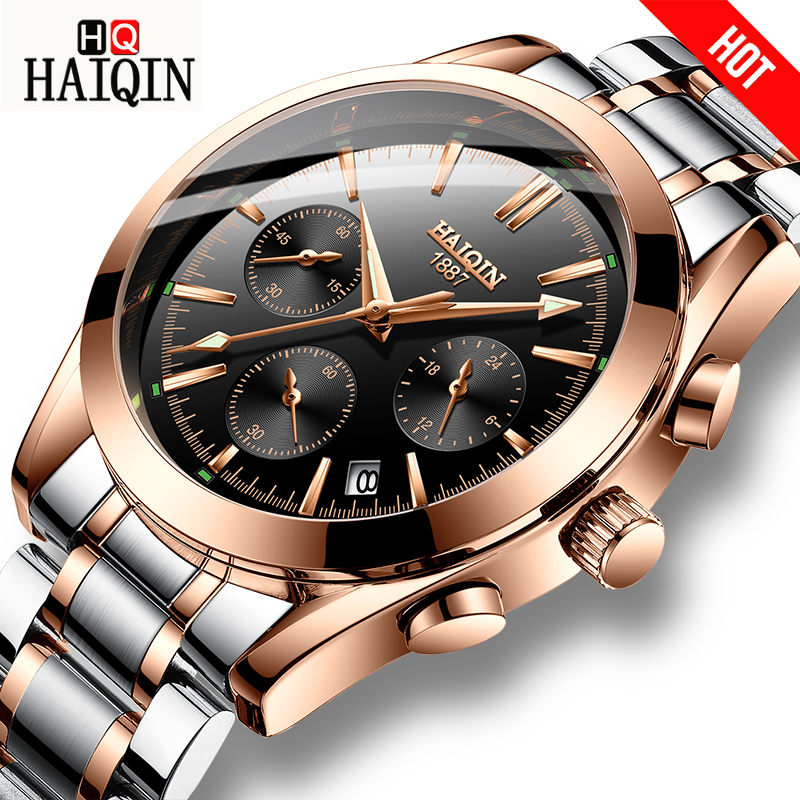 HAIQIN hommes montres sport/mliltaire/or montre hommes montre-bracelet hommes montres top marque de luxe relojes hombre montre-bracelet homme 2018