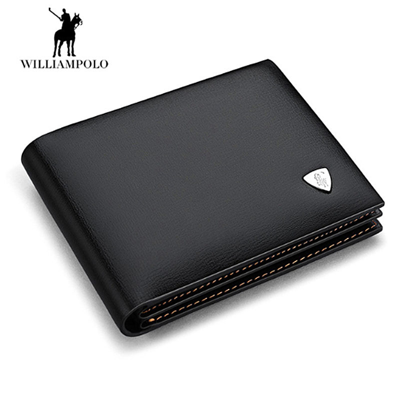 WILLIAMPOLO Wallet Men 100% Genuine Leather Short Wallet Vintage Cow Leather Casual Men Wallet Purse Standard Holders Wallets contact s 100% genuine leather wallet men long vintage cow leather casual purse brand design high quality wallets cell phone bag