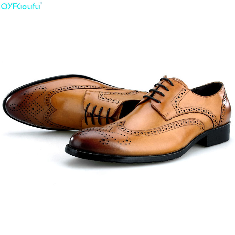 QYFCIOUFU Brand 100% Genuine Leather Men Formal Brogue Shoes High Quality Handmade Luxury Designers Office Dress Shoes OxfordQYFCIOUFU Brand 100% Genuine Leather Men Formal Brogue Shoes High Quality Handmade Luxury Designers Office Dress Shoes Oxford
