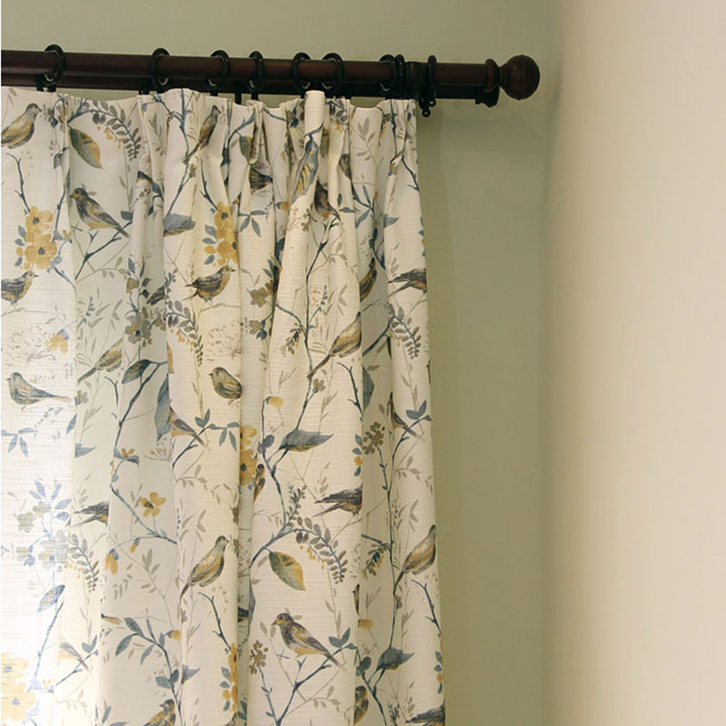 Single Panels Bird Curtains For Living Room Rustic Home Decor American Style Printed Curtains Drapes