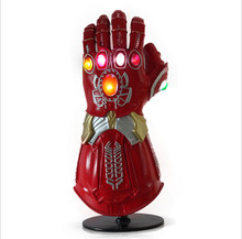цены Thanos Infinity Gauntlet LED Light  Avengers Infinity War Cosplay  Halloween Accessories Gloves LED PVC Action Figure Model Toys