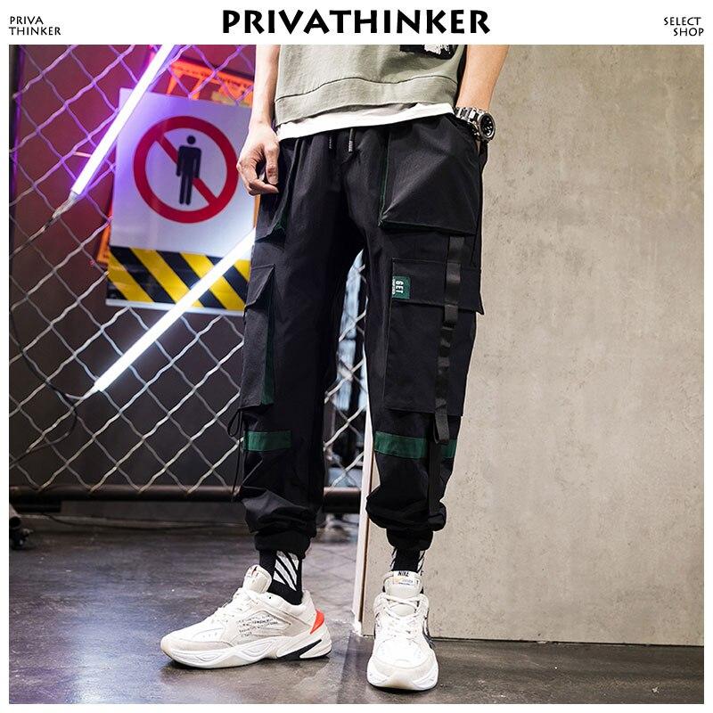 Privathinker Designer Belt Cargo Pants Men 2018 Mens Streetwear Joggers Pants Male Hip Hop Pockets Sweatpants 3XL Black Clothing