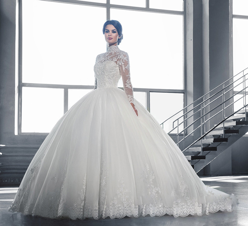 Long Sleeve High Neck Appliques Lace Wedding Dresses 2019 Vestido De Noiva White Ivory Ball Gown bridal gown dress Sweep Train