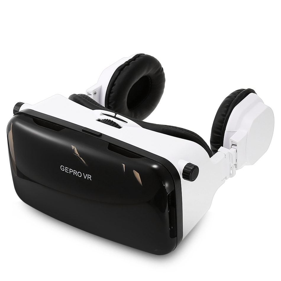 <font><b>GEPRO</b></font> <font><b>VR</b></font> <font><b>Virtual</b></font> <font><b>Reality</b></font> 3D <font><b>Glasses</b></font> <font><b>with</b></font> <font><b>Foldable</b></font> Earphones for 4 - 6 inch Smartphone IPD Focal Length Adjustable Video Game