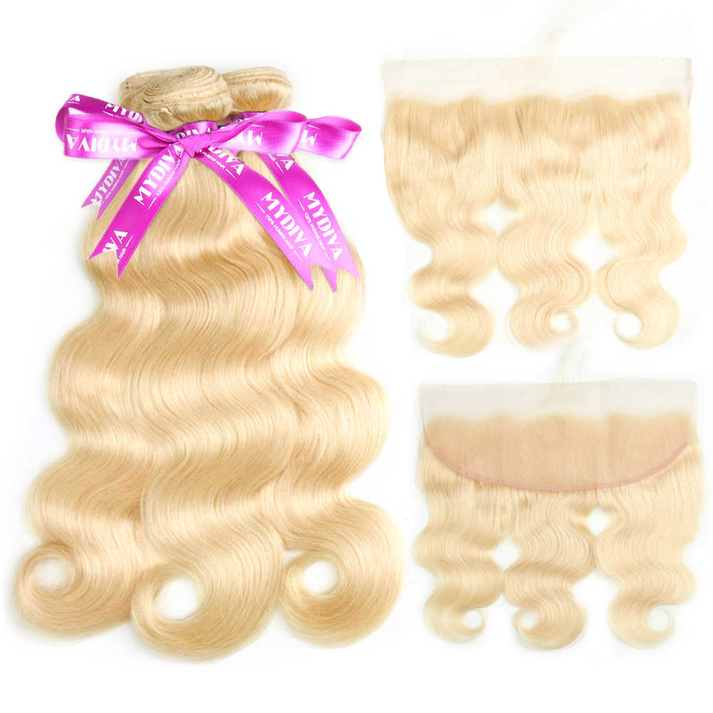 613 Blonde Bundles With Frontal Brazilian Body Wave Bundles With Frontal Blonde Lace Frontal Closure With Bundles 30inch Remy