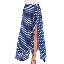 b30533da1 Women High Waist Polka Dot Maxi Skirt Slit Asymmetric Hem Summer Retro Long  Skirt 1950s Vintage