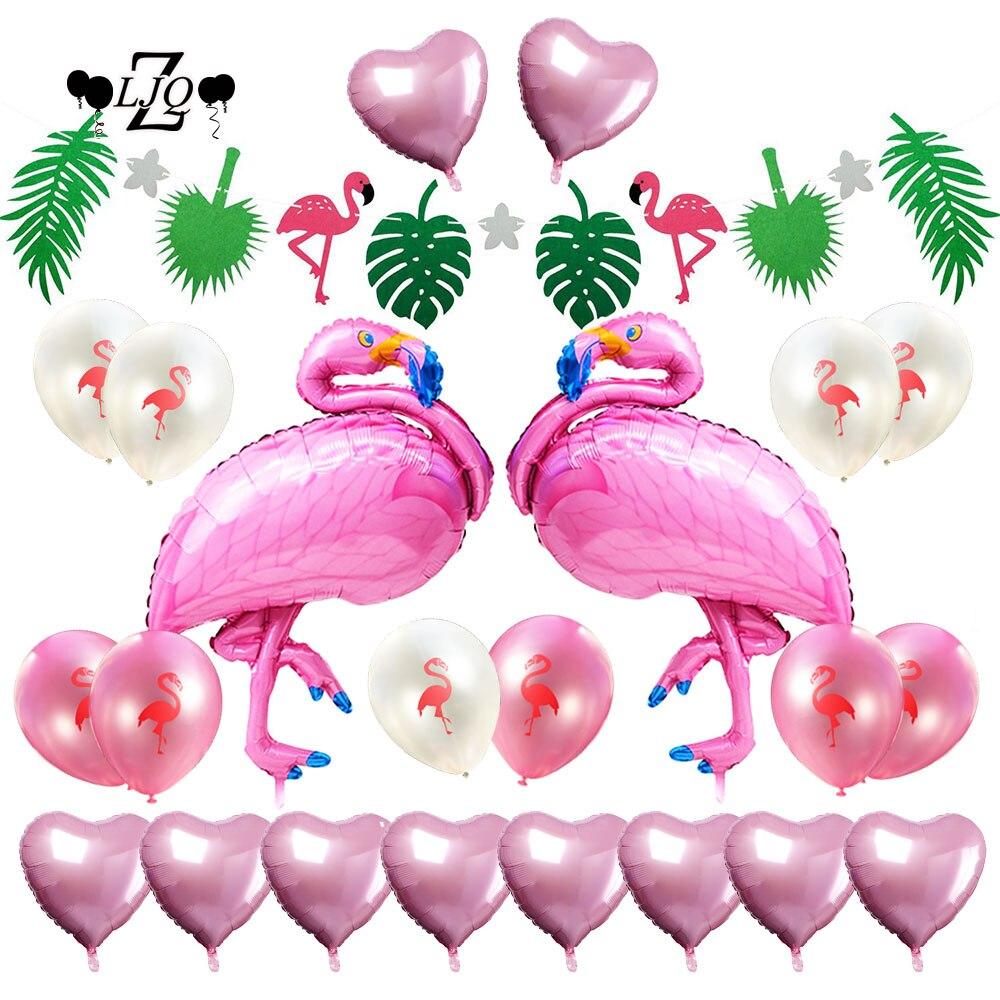 ZLJQ Luau Hawaiian Flamingo Banner Balloon for Holiday Beach Pool Parties Birthday Wedding Tropical Party Decoration Supplies
