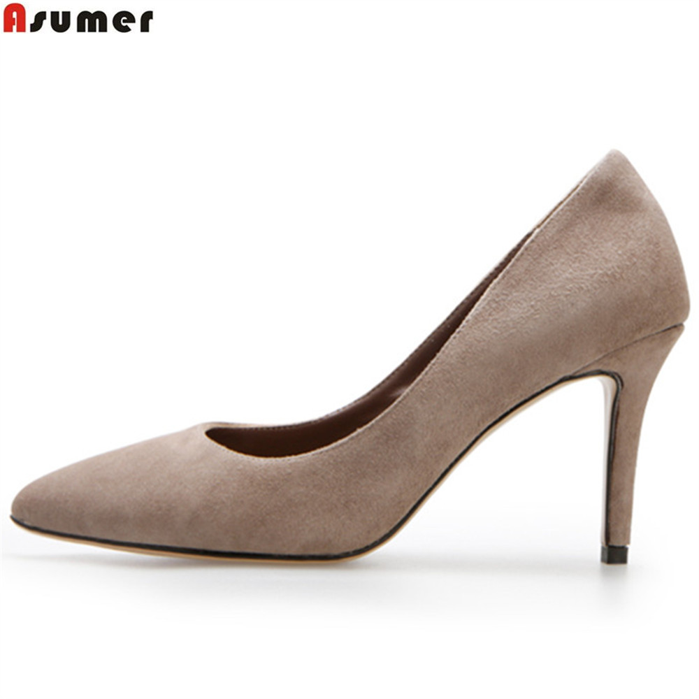 ASUMER red blue fashion spring autumn shoes woman pointed toe shallow elegant thin heel wedding shoes high heels shoes spring autumn shoes woman pointed toe metal buckle shallow 11 plus size thick heels shoes sexy career super high heel shoes