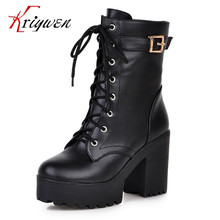 Plus size 34-43 new 2015 gothic punk shoes cosplay boots platform sexy zip winter square heel lace-up mid-calf Motorcycle boots