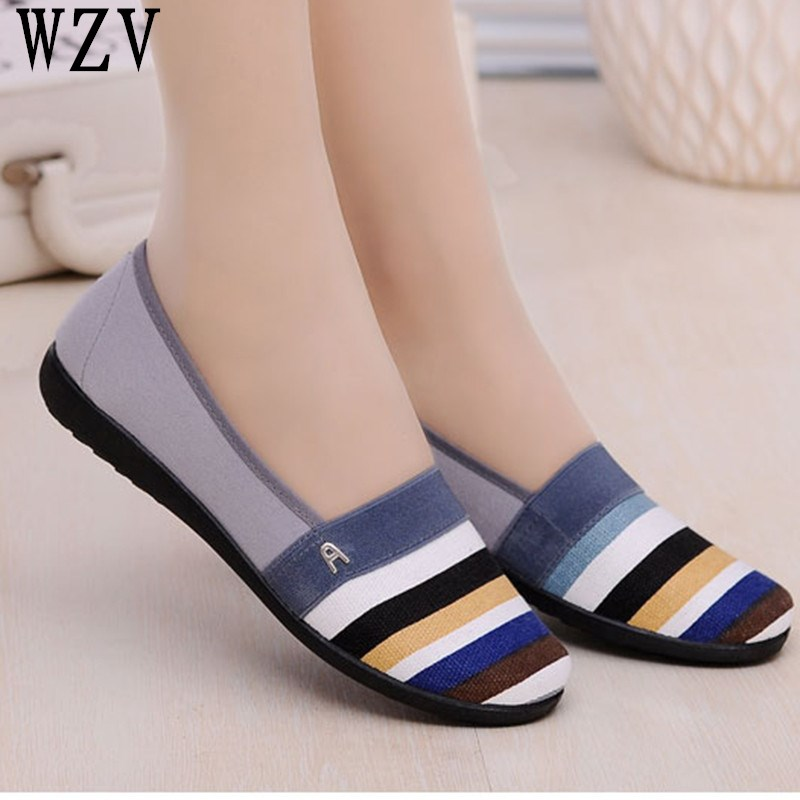 Plus Size Shoes Women Flats stripe Woman Loafers Spring Autumn Flat Shoes Women Zapatos Mujer Summer canvas shoes woman D005