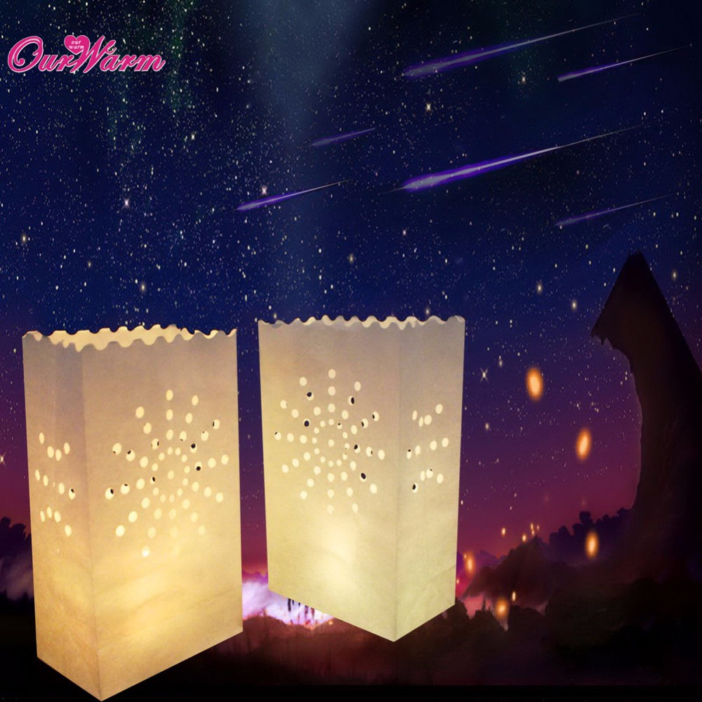 20Pcs Festival Lantern Paper Lantern Candle Bag Outdoor Lighting Candles for Wedding Decorations Event Pary Supplies 4 Patterns