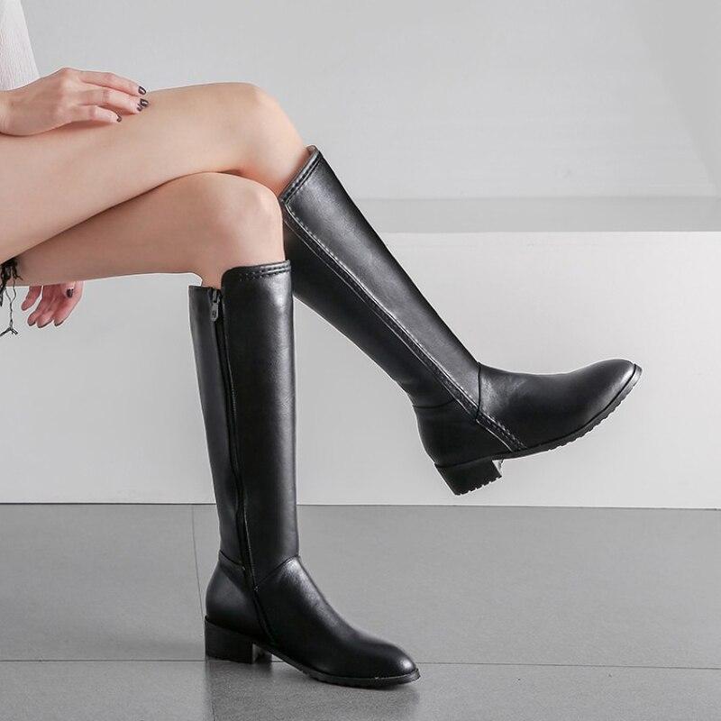 Rass ple 2019 Lady Knee High Boots Zipper Winter Warm Boots Casual Shoes Bota Feminina Zapatos De Mujer Shoes Women(China)