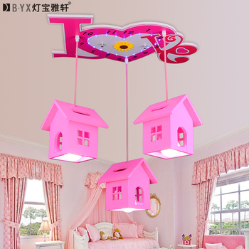 Creative warm romantic cottage girl Princess room lighting children's bedroom Remote Control LED cartoon pandent lights