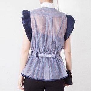 Image 3 - TWOTWINSTYLE פסים Hit צבע טלאים נשים חולצה צווארון עומד שרוולים קפלי טוניקת חולצה נשי אופנה 2020 קיץ