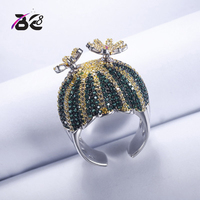 Be 8 Fashion New Style Adjustable Green CZ Cactus Ring for Women Fashion Jewelry Prickly Pear Finger Rings R117
