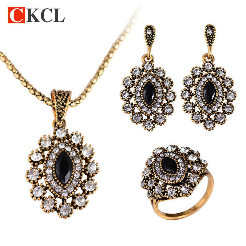 New Style High Quality Party Gift Turkish Crystal Parure Necklace Earrings Ring Jewelry Sets Fashion Vintage Alloy Necklace