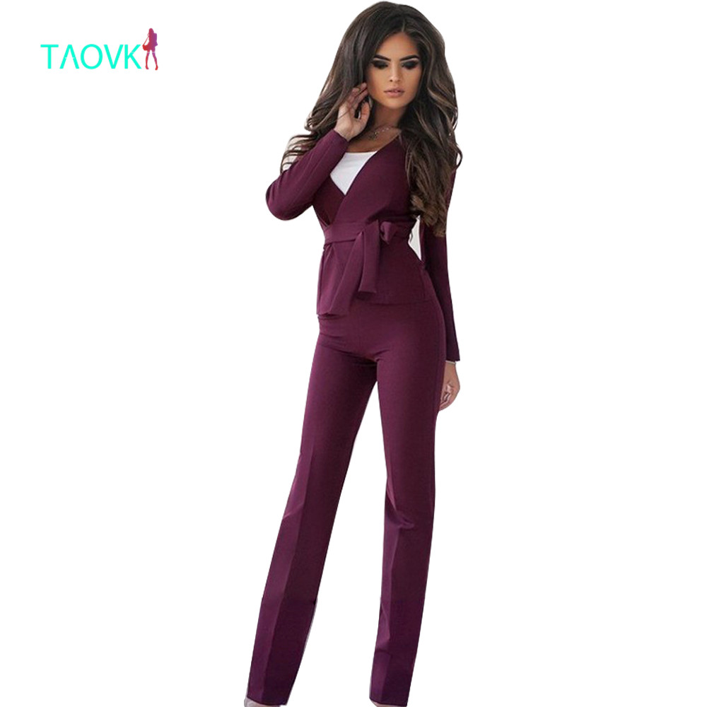 TAOVK women professional collar jacket trouser 2-piece suit