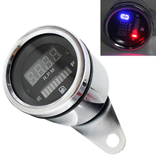 12V Universal Motorcycle Motorbike Instrument LED Digital Display Waterproof Tachometer Combine with Fuel Meter for