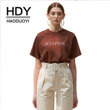 HDY Haoduoyi 2019 Letter Printed Loose Coffee Color Solid T Shirt Short Sleeve Pullover Crew Neck Fashion  Woman Tee