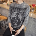 Fall fashion men's retro long-sleeved T-shirt plus size the basic printing primer for free shipping