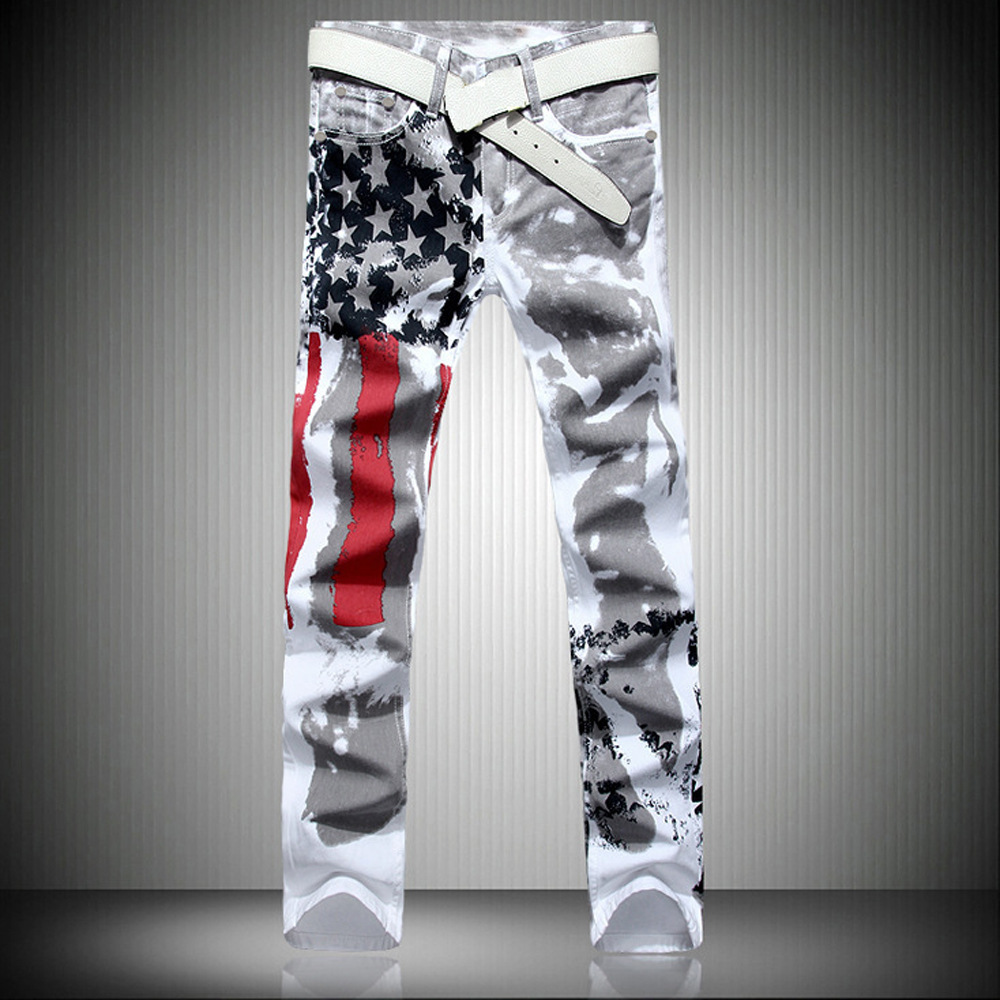 Men's White American Flag Printed   Jeans   High-elastic Slim Casual Five-pointed Star Red Strips Plus Size Trousers 41 42 43 44