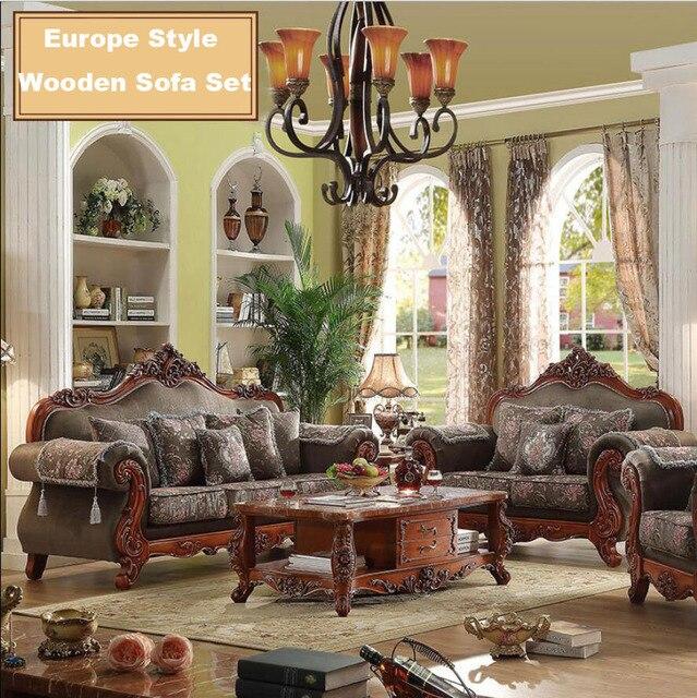 Webetop Modern Design Luxury Sofa Set Hand Craft Oak Wood Home Furniture  Set Solid Wood Frame